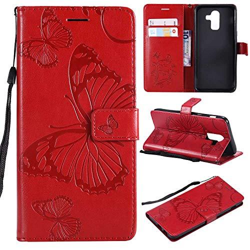 Conber Galaxy J8 2018 Hülle, Handyhülle mit [Frei Schutzfolie], Leder Schutztasche Klappetui Ledertasche Emboss 3D Schmetterling Leder Handy Schutzhülle für Samsung Galaxy J8 2018 - Rot