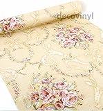 2m beige Leinen Effekt Sticky Back Kunststoff Damask Tapete, Floral Fablon Klebefolie Creme Rose Fablon