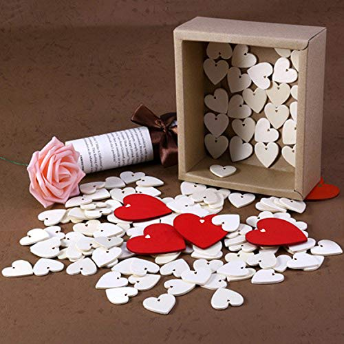 Wooden Hearts Embellishments (25 pcs) - 10 x 10cm Natural Unfinished Rustic Love Tags for Valentines Day, Christmas Tree/Wedding Decoration, Gifts, Scrap booking, DIY Art and Crafts with 10m Twine