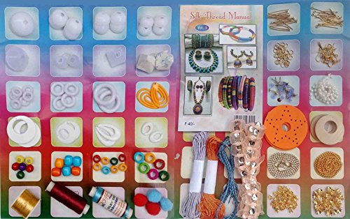 Soft Rain 41 items Basic Silk Thread Jewelry making kit with Jhumka base, Stones, Beads, Stud base in Storage Box