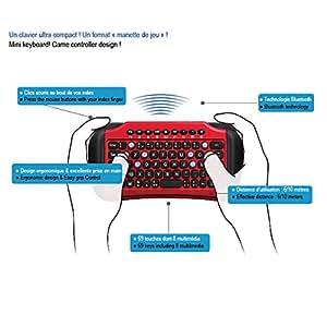 Advance - CLA-HANDY95BT - Mini Clavier bluetooth avec TouchPad pour PC / Tablette / Smartphones - Noir / rouge
