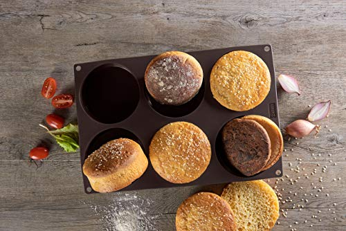 Lurch FlexiForm Burger Buns Silikonbackform für 10 cm Pattys, 6-Fach, Silikon, Braun, 3 x 33 x 25 cm