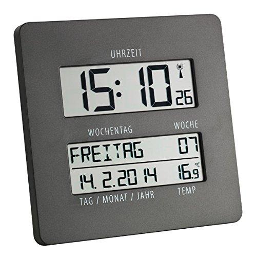 TFA Time Line Funk-Wanduhr mit Temperatur 60.4509.10 anthrazit