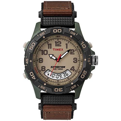 Timex T45181 - Reloj de pulsera para hombres, correa de nylon, color marrón