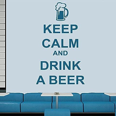 Reste calme et prend une biere Keep Calm Quotes Stickers muraux Accueil Décalcomanie disponible en 5 dimensions et 25 couleurs Très Petit Lemon Jaune
