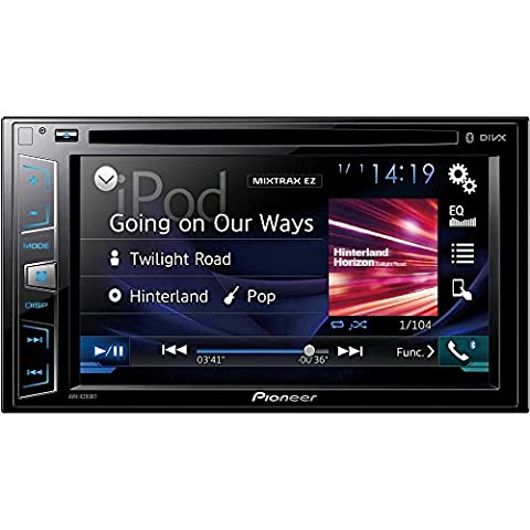 Pioneer AVH-X390BT 15,8 cm (6,2 Zoll) Touchscreen Multimedia Receiver mit Bluetooth, CD/DVD, USB, AUX-in und Video-Ausgang