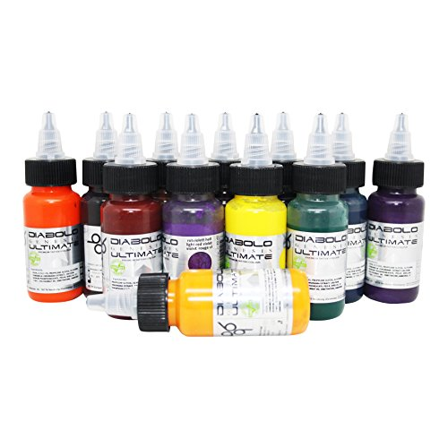 Diabolo Genesis Ultimate Tattoofarben Set 12 x 30 ml. Made in GERMANY. Mit Zertifikat, Tätowierfarbe, Tattoofarbe Tattoo Ink, Vertrieb durch HAN-SEN GmbH