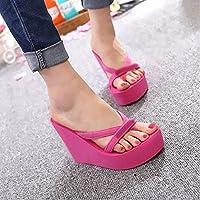 LJLLINGA Women Platform Sandals High Heel Sandals Summer Women Shoes Fashion Slippers Beach Flip Flops Solid Slides