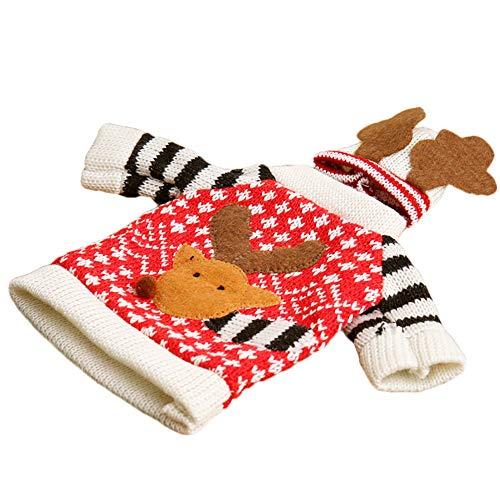 (Hilai Weihnachtsdekoration Dekor Weinflaschenbezüge Weihnachten Winterurlaub Stricken Pullover (Farbe Ramdon))