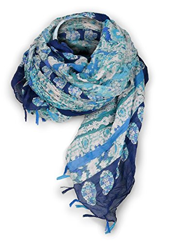Sarah & Sally Lifestyle Schal 100% Baumwolle mit blauen Fransen, farbigem Vintage Motivdruck, besonders lange XXL Ausführung (185 x 100 cm), Oversize, Nr.225 (Farbige Schal Baumwolle Seide)