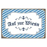 Cuadros Lifestyle Wanddekoration Blechschild 'auf zur Wiesn'/Oktoberfest/Nostalgic Art/Vintage, Größe:ca. 45 x 30 cm