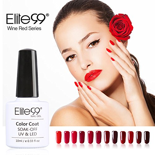 Vernis Semi permanent Elite99 Vernis à Ongles Gel UV LED Rouge Soakoff 12pcs Kit Manicure Pour Ongle