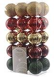 30 Stück Christbaumkugeln Kuststoff PVC 6cm Gold Rot Grün Weihnachtskugeln Baumschmuck Dekokugeln Glitter MIX Baumkugeln bruchfest
