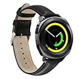 #10: YiJYi Samsung Gear Sport Watch BandYiJYi 20mm Genuine Leather Sport Replacement Band Strap for Samsung Gear Sport Smart Fitness Watch (Black)