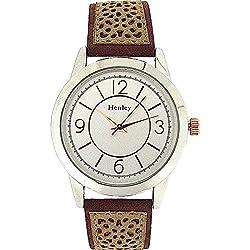 HENLEY Elegante Damenarmbanduhr mit zweifarbigem Ziffernblatt und sandfarbenem Wildlederimitat Armband H06064.10