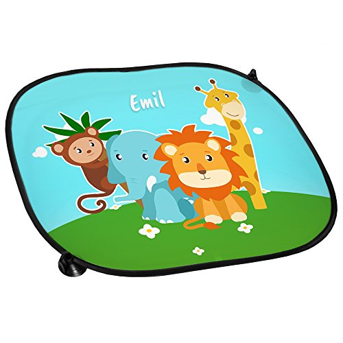 Auto-Sonnenschutz mit Namen Emil und Zoo-Motiv mit Tieren für Jungen | Auto-Blendschutz | Sonnenblende | Sichtschutz