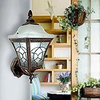 FHK,lampade da parete In stile europeo, vetro lampada da parete del giardino di illuminazione della parete paese americano personalizzato patio esterno balcone luci murali decorativi