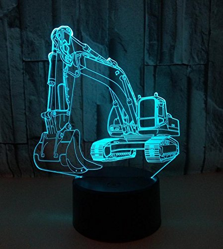 SQL 3d Excavator Colorful Remote Control Touch LED Acrylic Night Light (Remote Control Wall Plate)