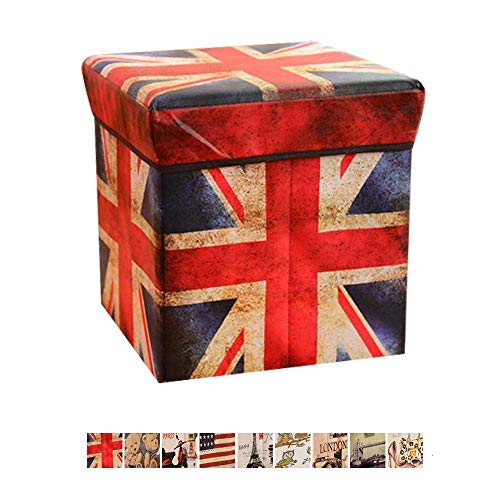 ABTRIX WITH AB Ottomans Folding Storage Box Footstool Cube, Retro Printing Single Seat Bench Pouffe Footstool Versatile Linen Toy Chest with Removable Lid, 30 * 30 * 30 cm, Random Prints