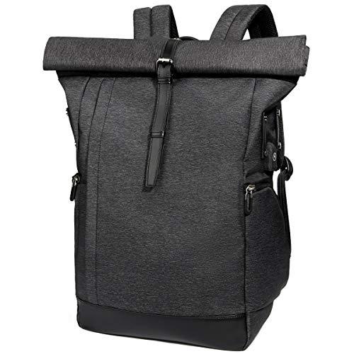 Rucksack Damen Herren Roll Top Rucksack Laptop Schultasche Uni Wasserabweisend Sportrucksäcke