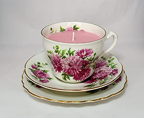 Vintage Tea Cup Candle Trio. Scented soy wax. Adderley Fine English Bone China. By Fizzy Fuzzy.