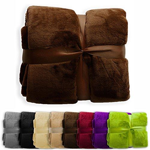 XXL Decke Glory | uni braun | super weiche Wohndecke / Kuscheldecke | 2 Größen und 8 Farben verfügbar | 150x200cm (Farben Weiche)