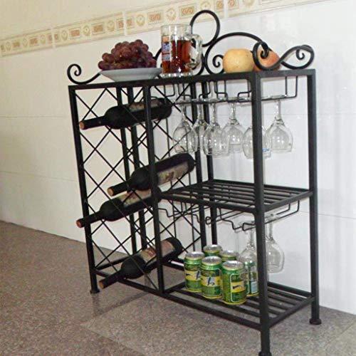 GCM Cabinet Küche Weinregal Lagerregal und Glashalter Freistehendes Regal Schmiedeeisen Rack-montiert Becher Rack Platzsparende Wein Bier Whisky Brandy Rack (Color : B)