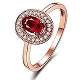 KnSam Joyas-Amor por Siempre&Anillos Plata Boda Matching Anillo de Diamante 0.5CT de 18K de Oro Anillo de Oro Rosa de la Talla de 22