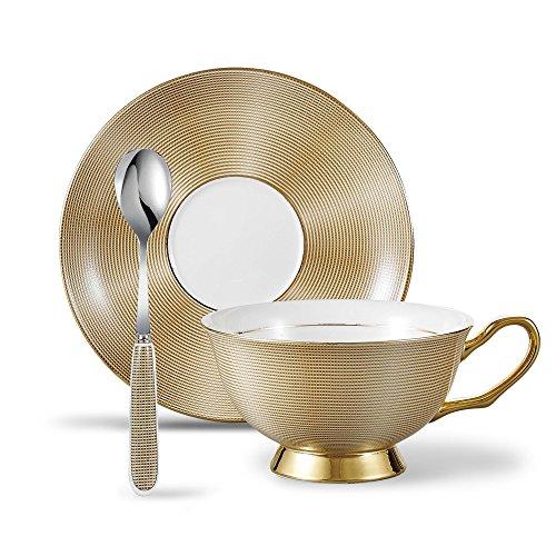 Panbado Kaffee Set aus Premium Bone China Porzellan, 3 teilig, 200 ml Kaffeetasse mit Untersetzer und Löffel, Kaffeeservice, Goldfarben