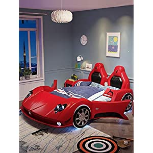 ZXM Creative children's bed boy single bed solid wood multi-function running lathe single boy girl leather belt Toddler Bed With mattress, stereo, LED lights (Color : Red, Size : 180 * 200cm)   4