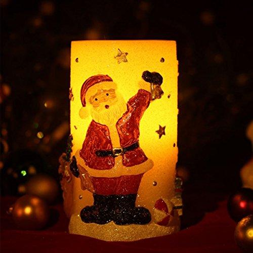 Candela natalizia decorativa, a led, a forma di babbo natale, senza fiamma, senza fili, a batteria, altezza: 14,5 cm