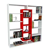 Alphamoebel Bücherregal Spannplatte der Güteklasse 1 weiß/rot 22 x 125 x 135,7 cm