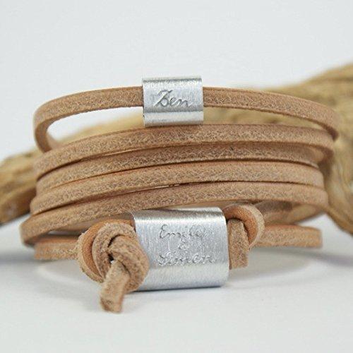 FOREVER Armband mit Gravur, Namensarmband, Wickelarmband, Familienarmband, Natur, Aluminium, Männerarmband