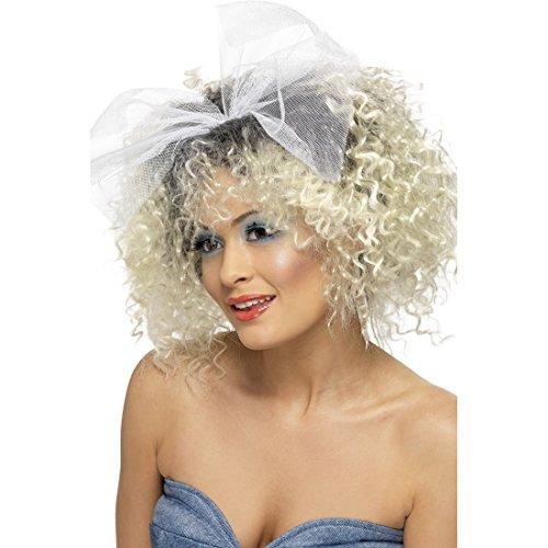 Blonde Lockenperücke Locken Engelsperücke mit Schleife Madonna Damenperücke 80er Jahre Perücke Karneval Kostüm Damen Zubehör Rock Mottoparty Karnevalsperücke Punk Engel Faschingsperücke