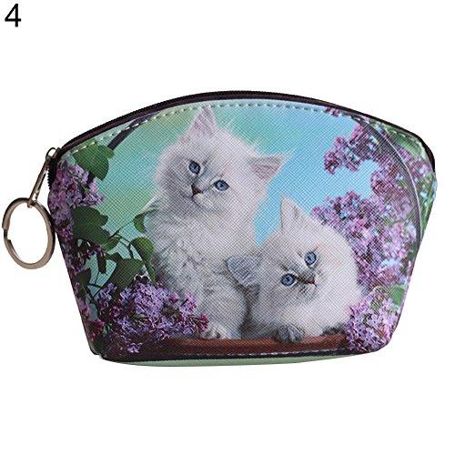 AchidistviQ - Portafoglio compatto per donna in ecopelle, motivo: cagnolini e gattini, grazioso regalo 4#
