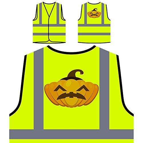 Verrückter Halloween Kürbis Personalisierte High Visibility Gelbe Sicherheitsjacke Weste q200v