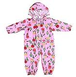 Vividda Unisex-Baby wasserdichter Regen-Overall, Regenanzug Kein Futter, bedruckte mit Kapuze warm atmungsaktiv Small Rosa