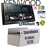 Hyundai ix35 - Autoradio Radio Kenwood DPX-M3100BT - 2-Din Bluetooth USB VarioColor Einbauzubehör - Einbauset