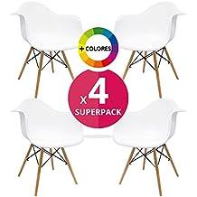 Silla Nórdica (Pack 4) - Sillón Tower Blanco - silla nordic escandinava inspirada en silla eames daw - Cala - (Elige tu color)