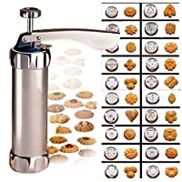 'Biscuit Maker/Cookie Press aluminium lac biscuit Maker with 20different types to make (above).Plus Four icing nozzles. Enables you to quickly and easily produce a Variety of attractively en forme de biscuits. Colour recipe & instruction booklet...