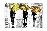 CANVAS IT UP 3gelb Regenschirme von Leonid Afremov Leinwand Abstrakte Art Prints Gerahmte Bilder Schwarz und Weiß Poster Home Deco Größe: 101,6x 76,2cm (101x 76cm)
