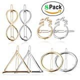 Hair Clip Accessories for Women - Pack of 8 PCS Hair Barrettes Hair Pins Geometric Triangle Infinity Circle Pineapple Hair Clips Set for Girls Thick Hair Styling, Clip on, Gold and Silver Tune