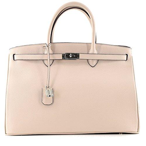 Holiday Damen Tasche (Rouven / Icone 40 Tote Bag / Elfenbein Ivory Creme Beige / Silver / Leder Tasche Shopper Handtasche / groß / Business / edel modern chic puristisch / 40x28x19cm)
