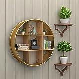 JH Wand-Lagerregal Wohnzimmerwand, Runde Stäbe des Festen Holzes, kreative Wandregale, Wanddekoration, Schmiedeeisen (Farbe : Gold, größe : 75 * 18cm)