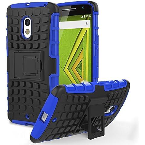 Motorola Moto X Play Phone Funda - MoKo Heavy Duty Rugged Dual Layer Armor con Kickstand Protective Funda para Moto X Play Smartphone 2015 Edition, Azul (Not for Moto X Previous