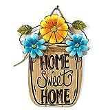 Pannow Holzschild Welcome Schild, hängende Outdoor Kranz Dekorative Anhänger Tags mit Schnur für Terrasse Garten Hof, Wanddekoration, 30 cm hoch, Blue+Yellow, 39 x 30cm