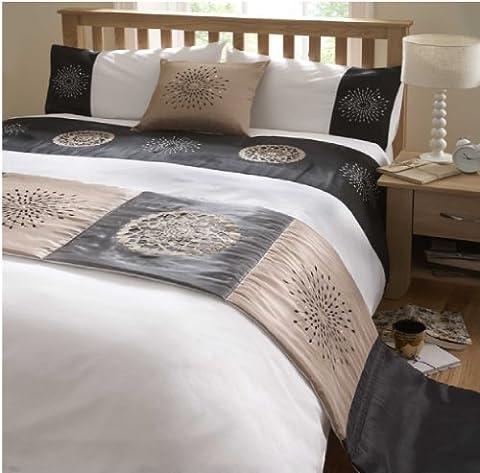 DE CAMA TIGRA BLACK GOLD LUXURY DUVET COVER QUILT BED IN A BAG 5 PIECE SET - DOUBLE