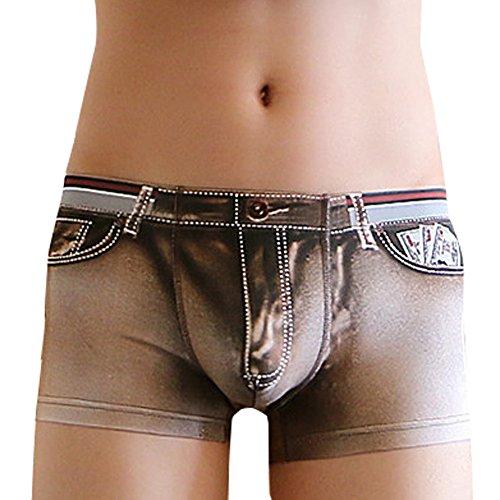 Liusdh Kurzer Schlauch für Herren Dreidimensionales Drucken Mann Gezeiten männliche flache Hosen Unterwäsche des Denim 3D(Coffee,M) -