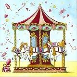 Quadratische Postkarte Nina Chen *** Kinder Karussell Pferdchen