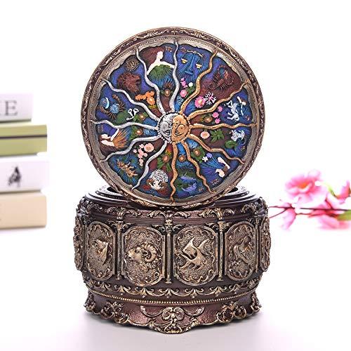 zyfun Spieluhr Creative Artware Spieluhr Retro 12 Constellation Spieluhren Sun God Geschenkbox für Mädchen Valentinstag Geburtstagsgeschenke